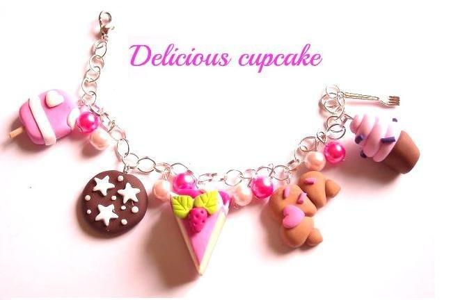 Bracciale charm fimo cupcake pan di stelle cornetto