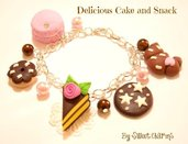 Bracciale charm fimo torta pan di stelle ciambella mooncake