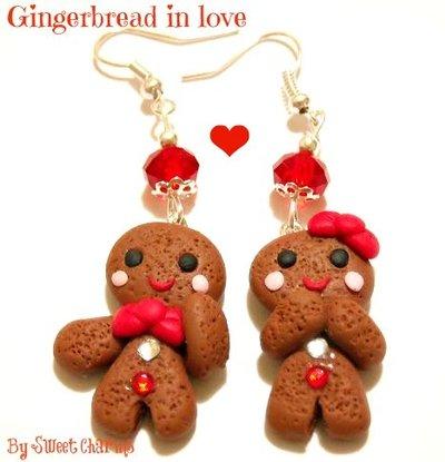Orecchini coppia omino pan di zenzero fimo natale idea regalo fiocco rosso o verde