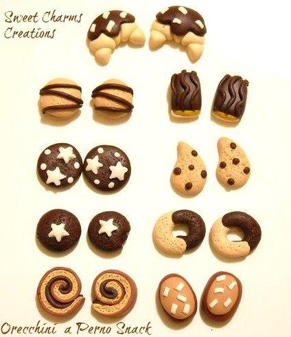 Orecchini a perno biscotti miniatura merende pan di stelle mooncake girella cornetto fiesta