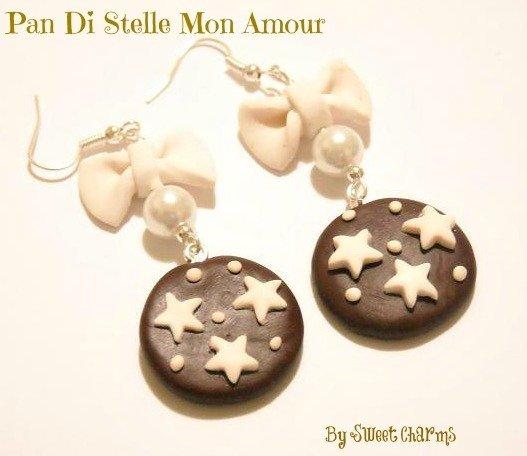 Orecchini ciondoli charms biscotti pan di stelle fiocco