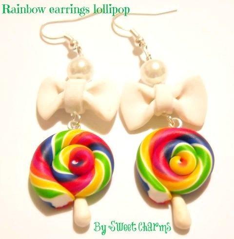 Orecchini ciondoli charms lollipop caramella arcobaleno fiocchi