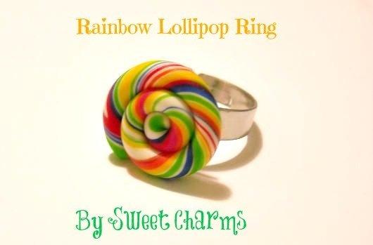Anello regolabile caramella lecca lecca lollipop arcobaleno