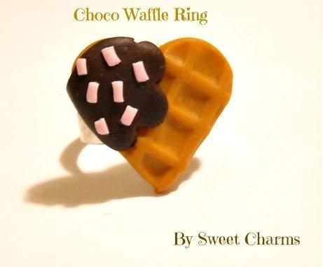 Anello regolabile biscotto cuore waffle cialda