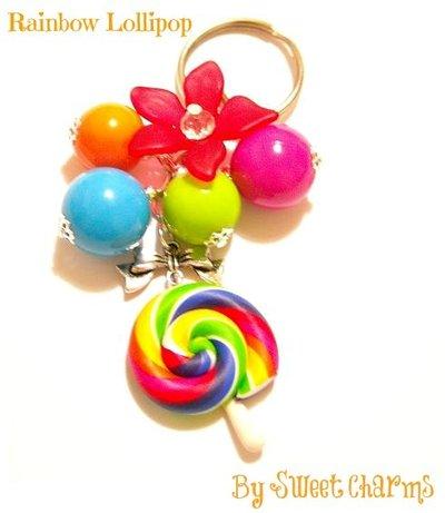 Portachiavi ciondolo lollipop arcobaleno colorato