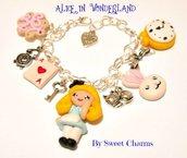 Bracciale Alice in wonderland bianconiglio  biscotto eat me
