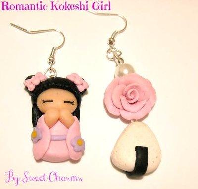 Orecchini fimo kokeshi giapponesina onigiri rosa perla idea regalo