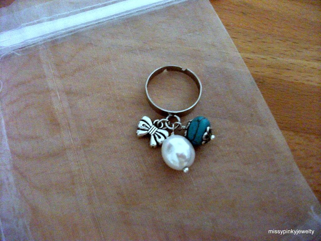"""Anello """"Candy"""" fiocco turchese perla"""