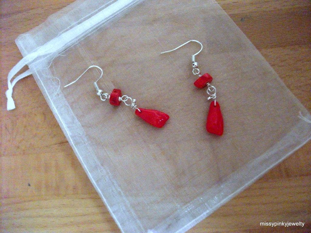 """Orecchini """"Red Foot"""" piedi vetro corallo rosso"""