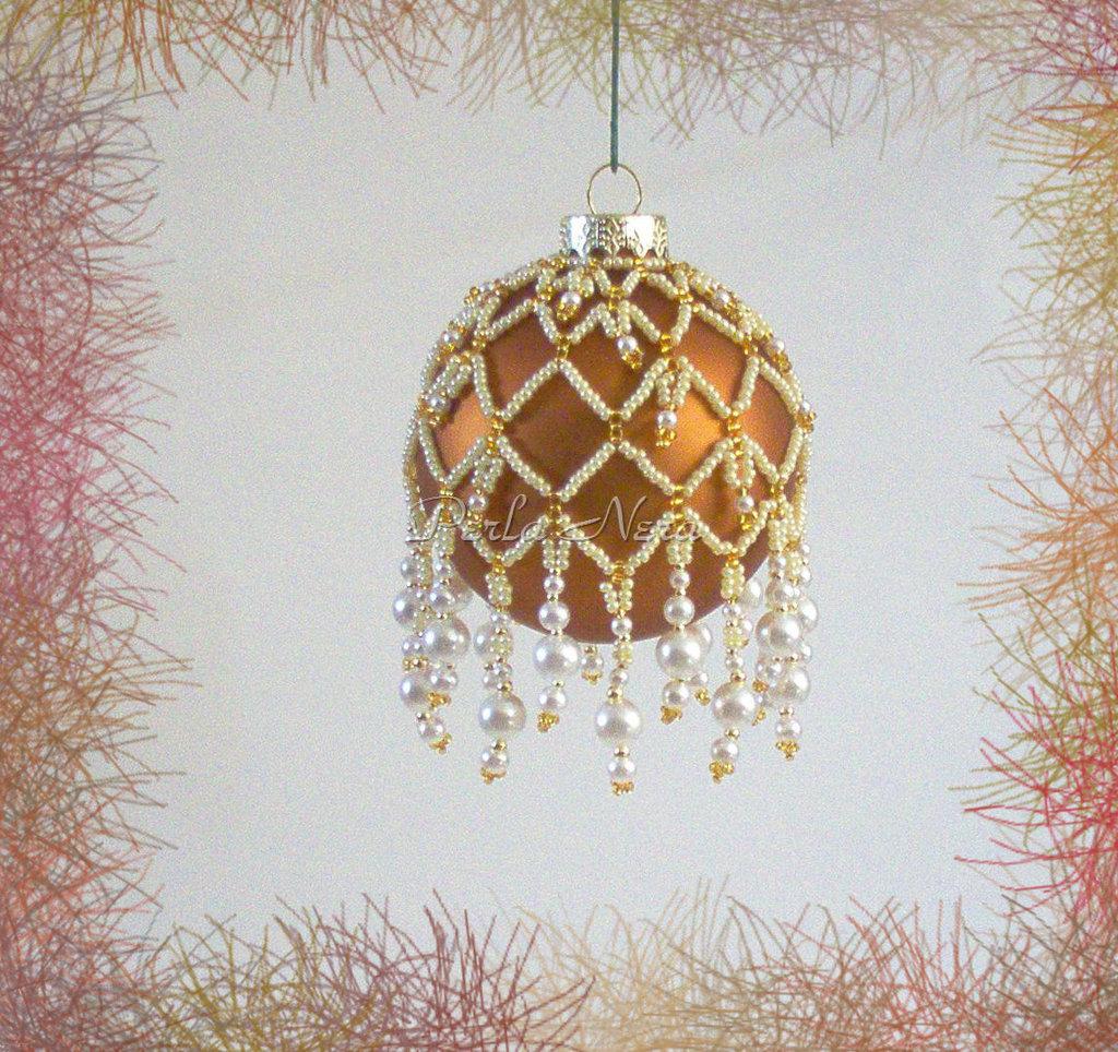 """Palla di Natale da collezione """"Crystal Cascade"""" fatta a mano con perline"""