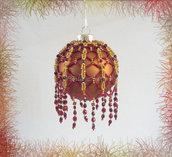 """Palla di Natale da collezione """"Picot 2"""" fatta a mano con perline"""