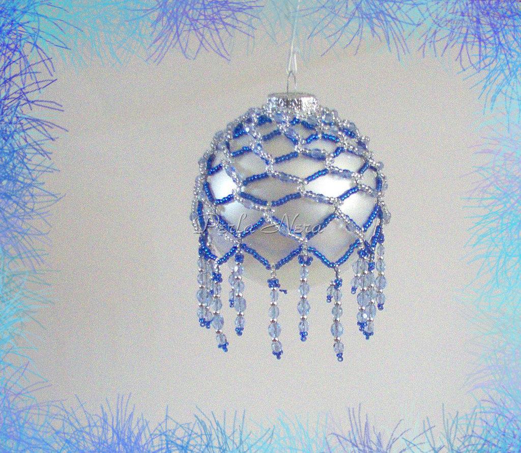 """Palla di Natale da collezione """"Picot 1"""" fatta a mano con perline"""