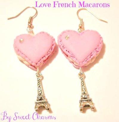 Orecchini fimo ciondoli macarons cuore torre eiffel idea regalo
