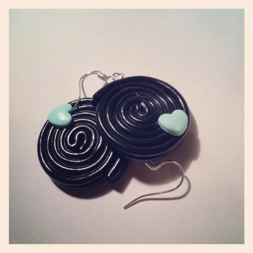 orecchini rondelle di liquirizia