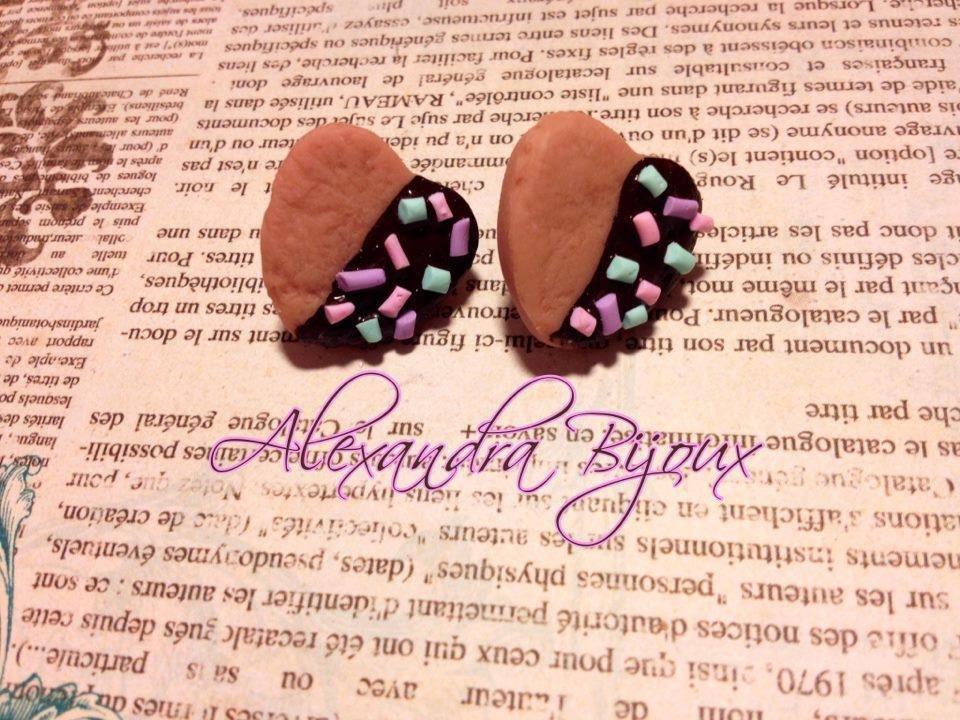 orecchini biscottini cioccolato e zuccherini