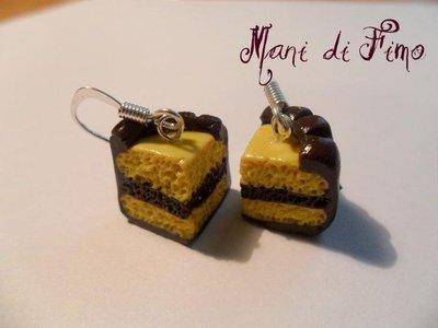 orecchini torta bicolore