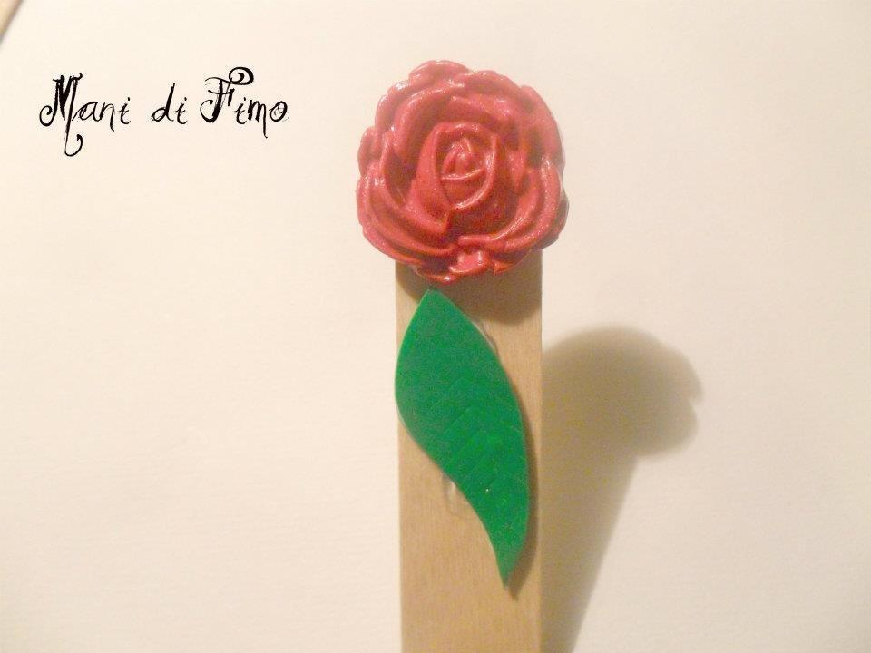 segnalibro con rosa