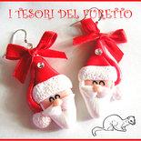 """Orecchini Natale """"Babbo Natale"""" 2015  idea regalo fimo cernit bambina ragazza bijoux natalizi regalo economico per lei"""