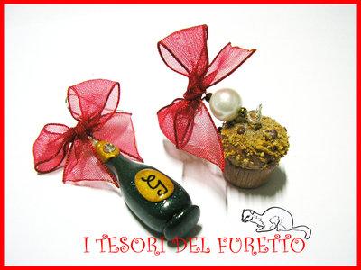 """Orecchini """"Panettone Bottiglia"""" spumante champagne 2013 capodanno"""