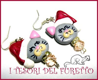 """Orecchini """"Mici Natalizi Fufufriends"""" Natale 2012 idea regalo fimo cernit kawaii"""