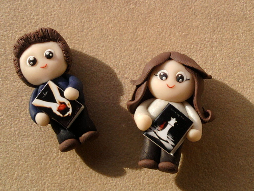 Ciondolo Edward e Belle di Twilight fimo