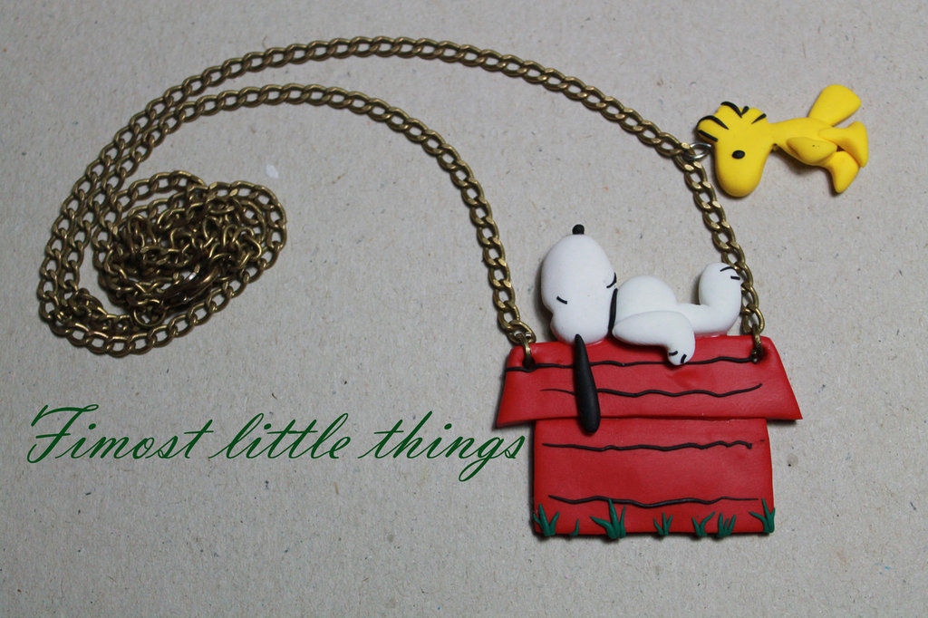Collana con Snoopy e Woodstock su cuccia <3