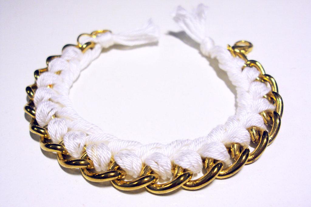 Bracciale filo e catena - bianco - mod. Color Chain