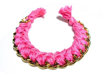 Bracciale filo e catena - magenta - mod. Color Chain