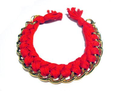 Bracciale filo e catena - rosso - mod. Color Chain