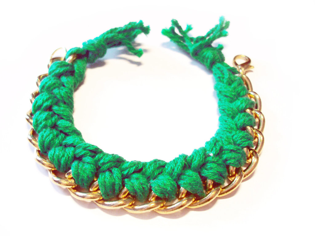 Bracciale filo e catena - verde - mod. Color Chain