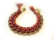 Bracciale filo e catena - marrone - mod. Color Chain