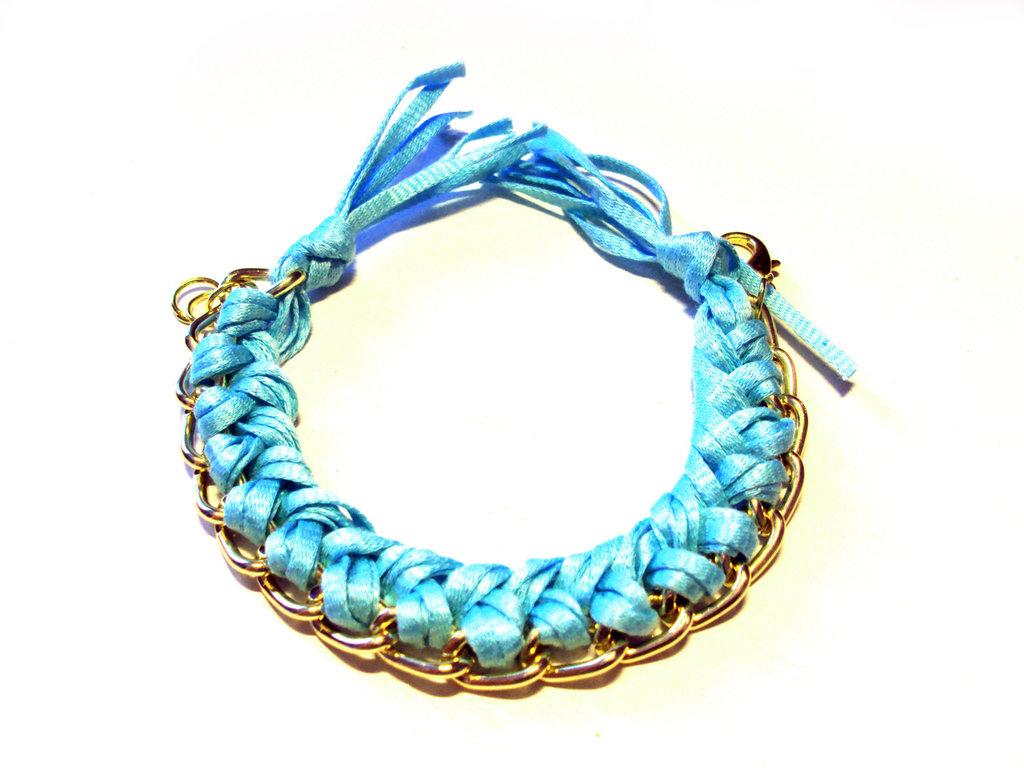 Bracciale filo e catena - azzurro - mod. Color Chain