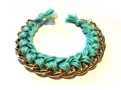Bracciale filo e catena - verde acqua - mod. Color Chain