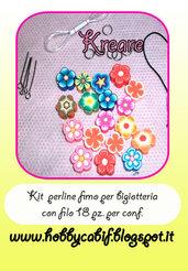 Perline canne fimo fiori con foro per bigiotteria