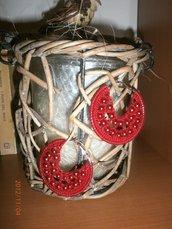 Orecchini a cerchio uncinetto con perline