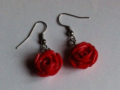 Orecchini Rose (Rosse) in Fimo / Polymer Clay (Red) Roses Earrings