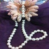 Collana con perle e strass