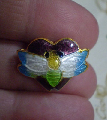 5 Perline Cuore e Libellula Cloisonne