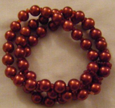 bracciale a 3 giri con perle in vetro  e conteria