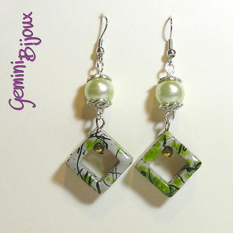 Orecchini rombi acrilico verde olivine