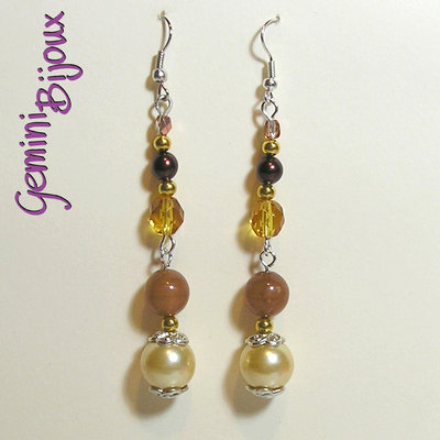 Orecchini perle mix crema topaz marrone