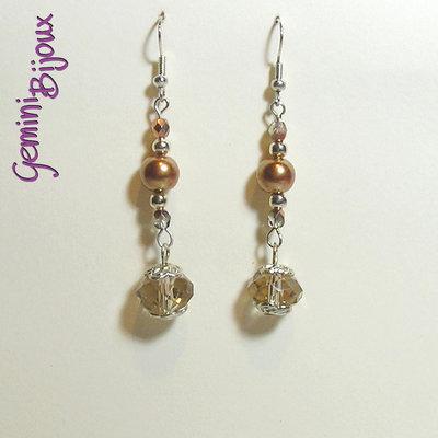 Orecchini perle e briolette bronze
