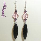Orecchini lunghi nero e rosa