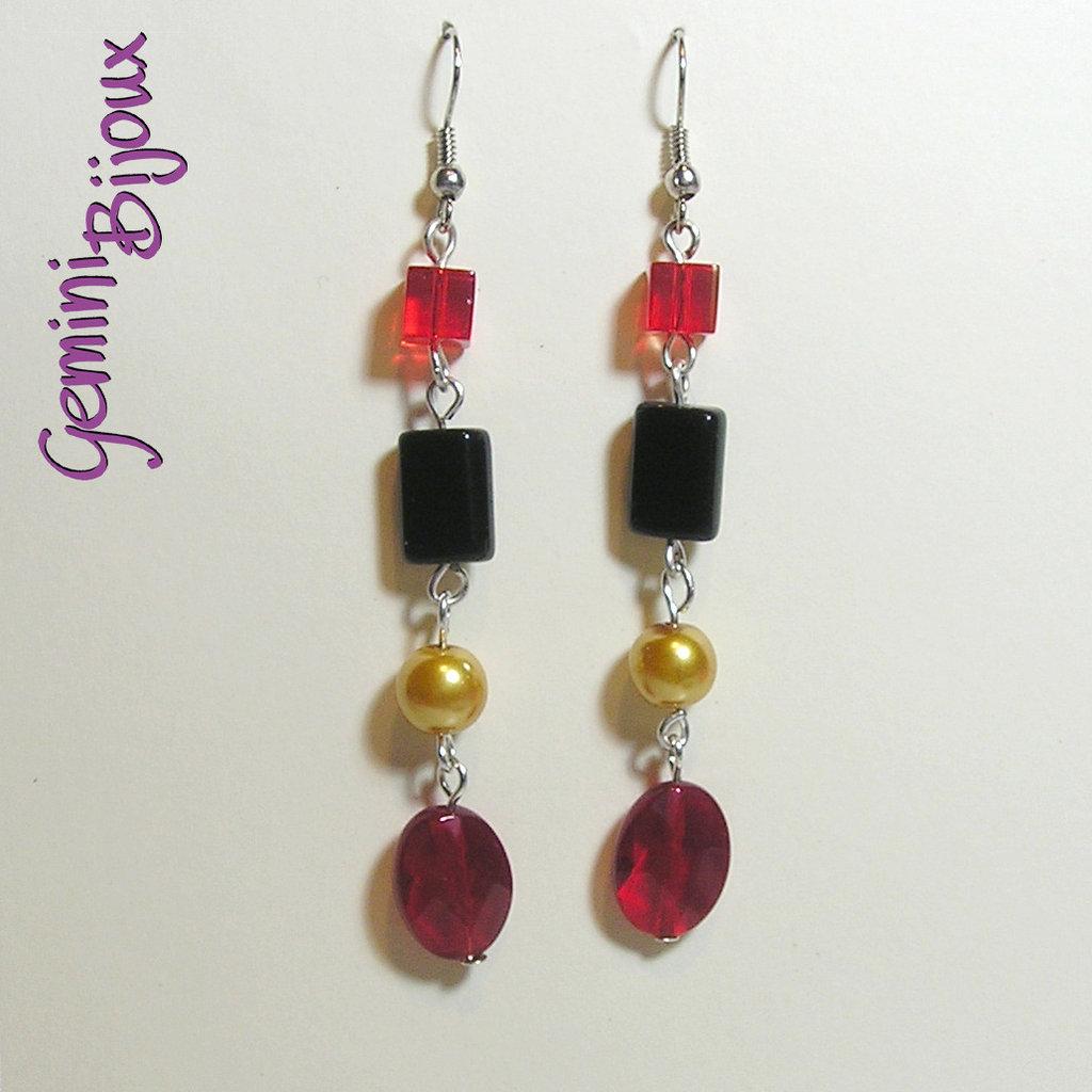 Orecchini red-gold-black