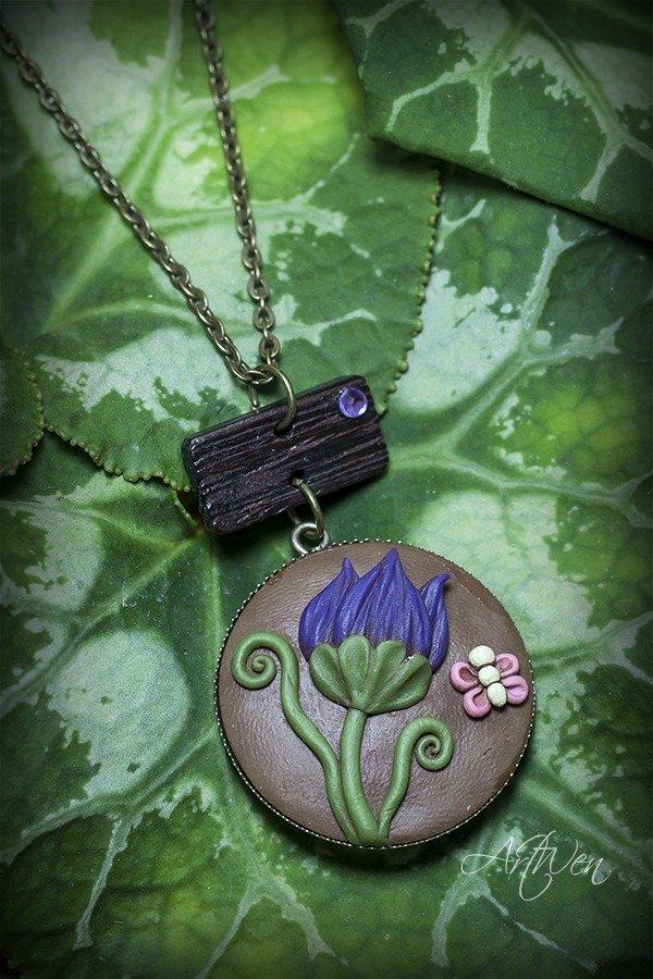 Ciondolo Fiore Viola