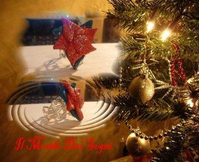 Anello fimo stella natale rossa +piccolo OMAGGIO!