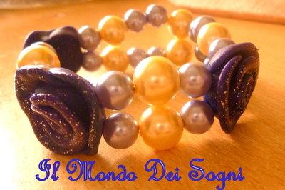 Bracciale fimo rose viola e perle+SCATOLINA REGALO!