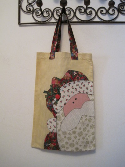 borsa patchwork applique Natale