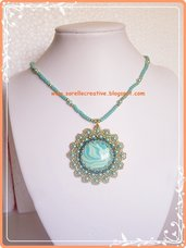 Ciondolo turchese verde perline fimo