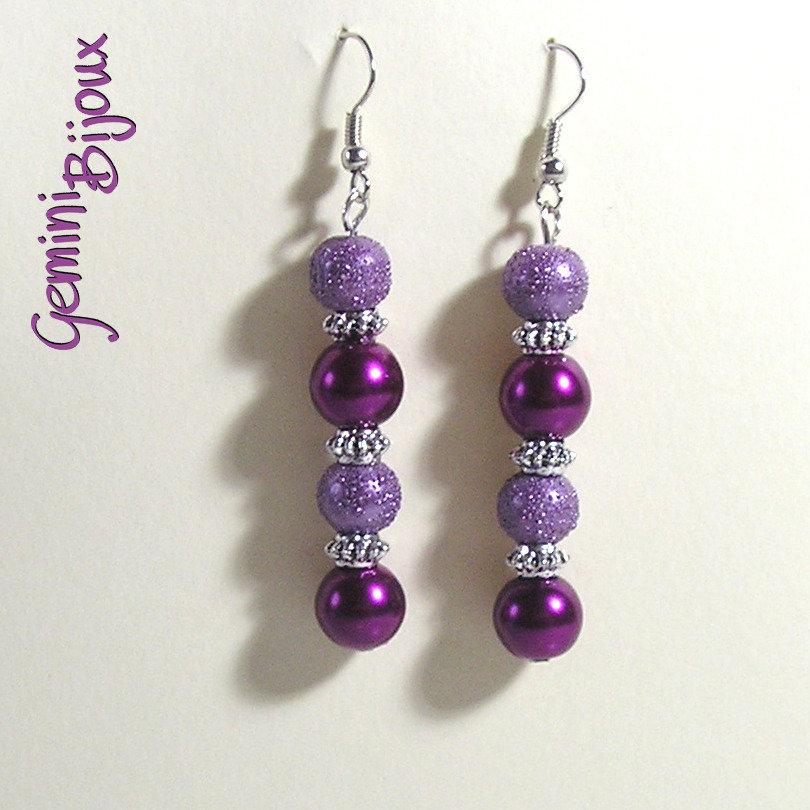 Orecchini perle viola
